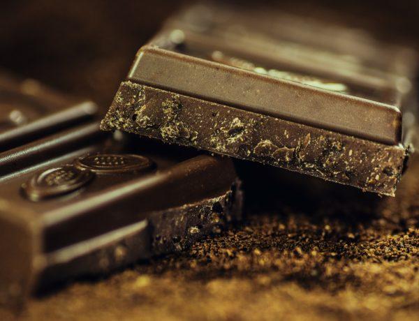 Tartaletas de chocolate con nueces picadas y arándanos. Receta de Navidad